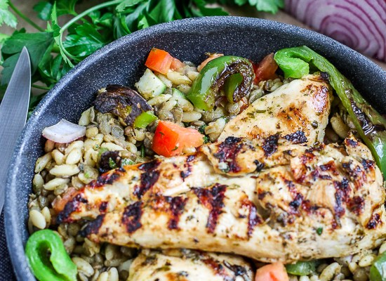 Greek Chicken over Orzo Lentil Salad
