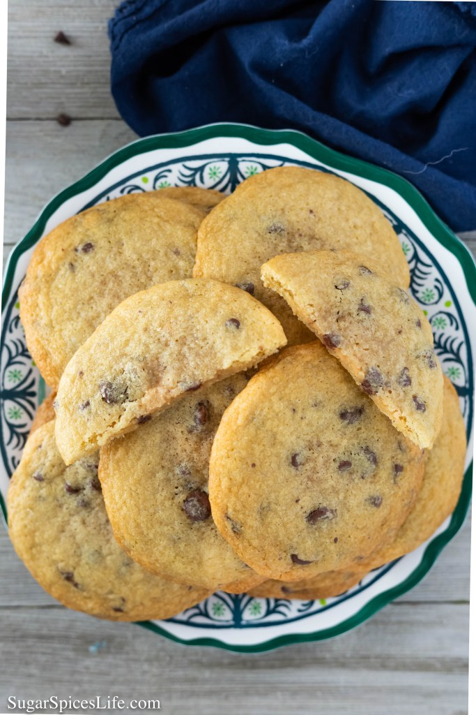 These Peanut Butter Stuffed Chocolate Chip Cookies are delicious, soft chocolate chip cookies that have the perfect amount of peanut butter filling. Surprisingly thin for a stuffed cookie, and amazingly tasty.
