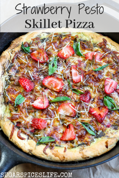 Strawberry Pesto Skillet Pizza. Homemade pizza crust cooked in a cast iron skillet. Topped with pesto, sweet Italian chicken sausage, strawberries, basil, mozzarella, and balsamic reduction. You will never purchase another pizza crust.