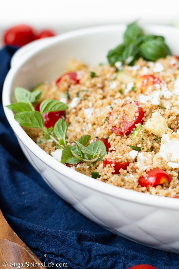 Couscous tossed with fresh herbs, vegetables, and feta cheese, and finished with a balsamic dressing. This Fresh Herb and Vegetable Couscous Salad is light and deliciously flavorful!