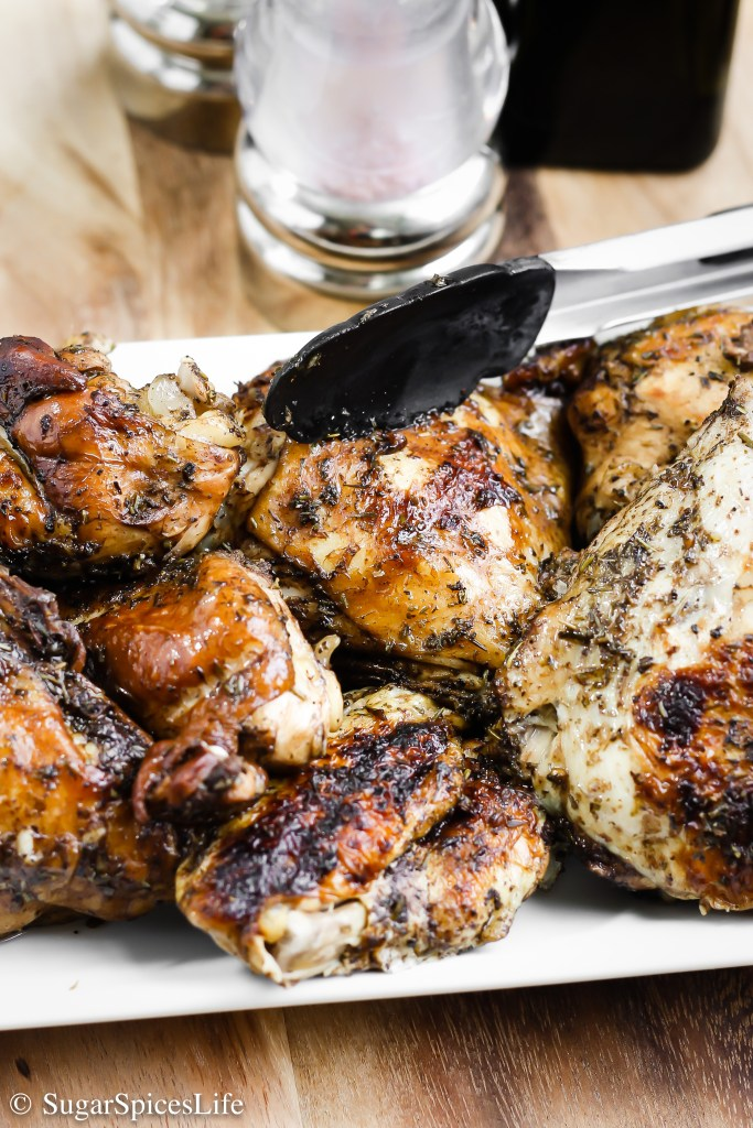 Chicken marinated in balsamic and herbs de Provence, then cooked in an Instant Pot. This Instant Pot Roasted Balsamic Chicken tastes like a pull-apart rotisserie chicken, but made in much less time!