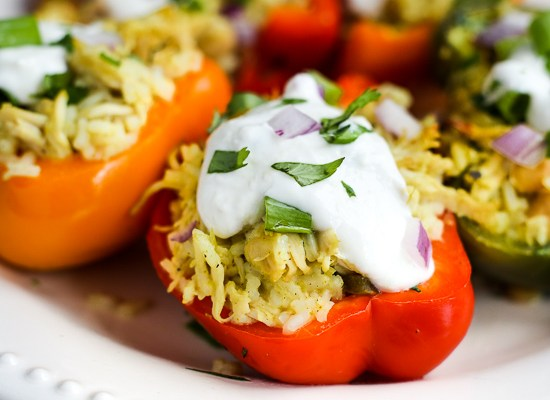 Lemongrass Chicken Stuffed Peppers (Instant Pot or Slow Cooker)