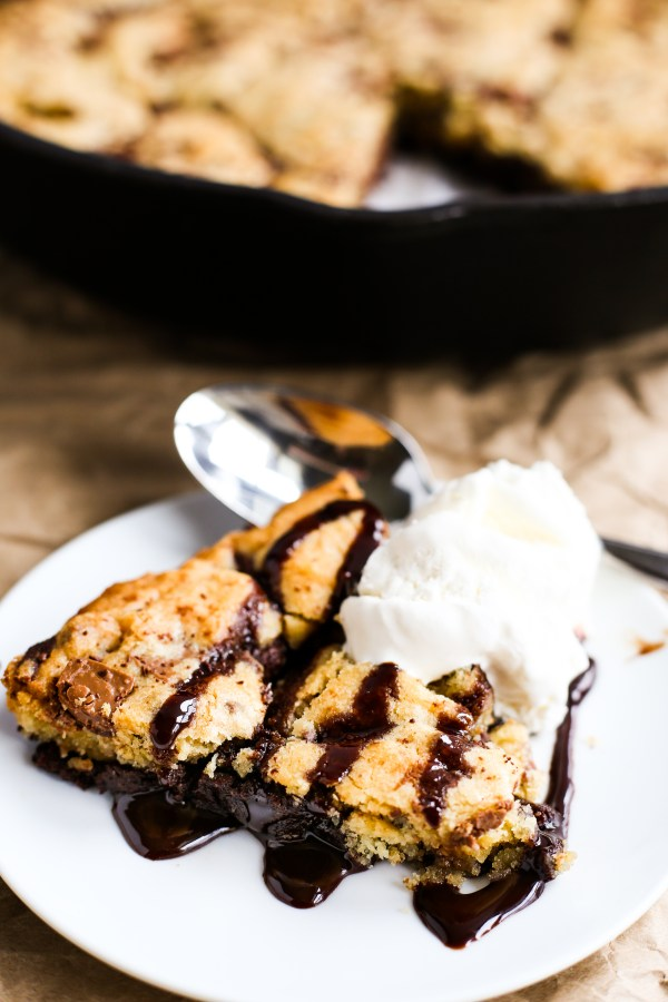 Skillet Brookie. Warm, gooey brownie topped with with soft, chocolate chunk cookie. Baked in a skillet to give it deliciously crisp edges. THE perfect dessert.