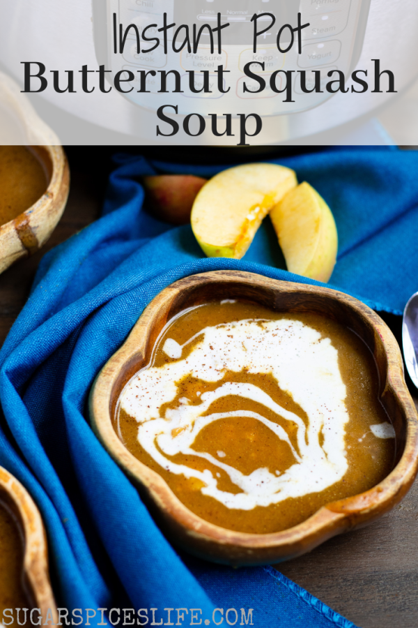 Instant Pot Butternut Squash Soup. Creamy, butternut squash soup spiced with nutmeg and cinnamon, and filled with apple chicken sausage. Made with coconut milk to be extra tasty and dairy free!