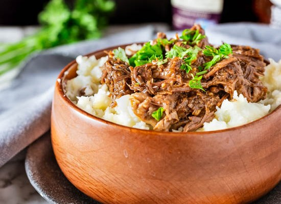 Honey Balsamic Beef with Buttermilk Mashed Potatoes (Instant Pot)