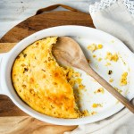 Spoon Cornbread with Skillet Roasted Corn. An addictively delicious cross between cornbread and corn pudding, made with skillet roasted corn. The perfect side dish for any meal or holiday!