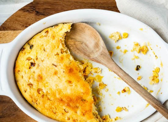 Spoon Cornbread with Skillet Roasted Corn