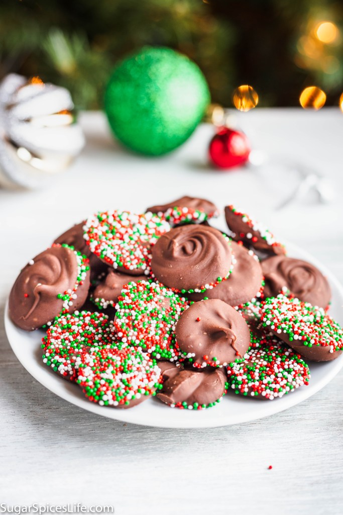 Chocolate Nonpareils. Delicious chocolate buttons with nonpareil candy coated bottoms! Easy to make and perfect to use for a gift!