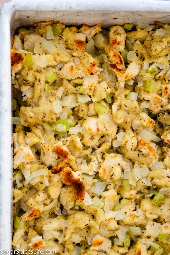 Herbed Bread Dressing. Deliciously seasoned bread and vegetables baked to perfection! Ideal as a side dish any time of the year!