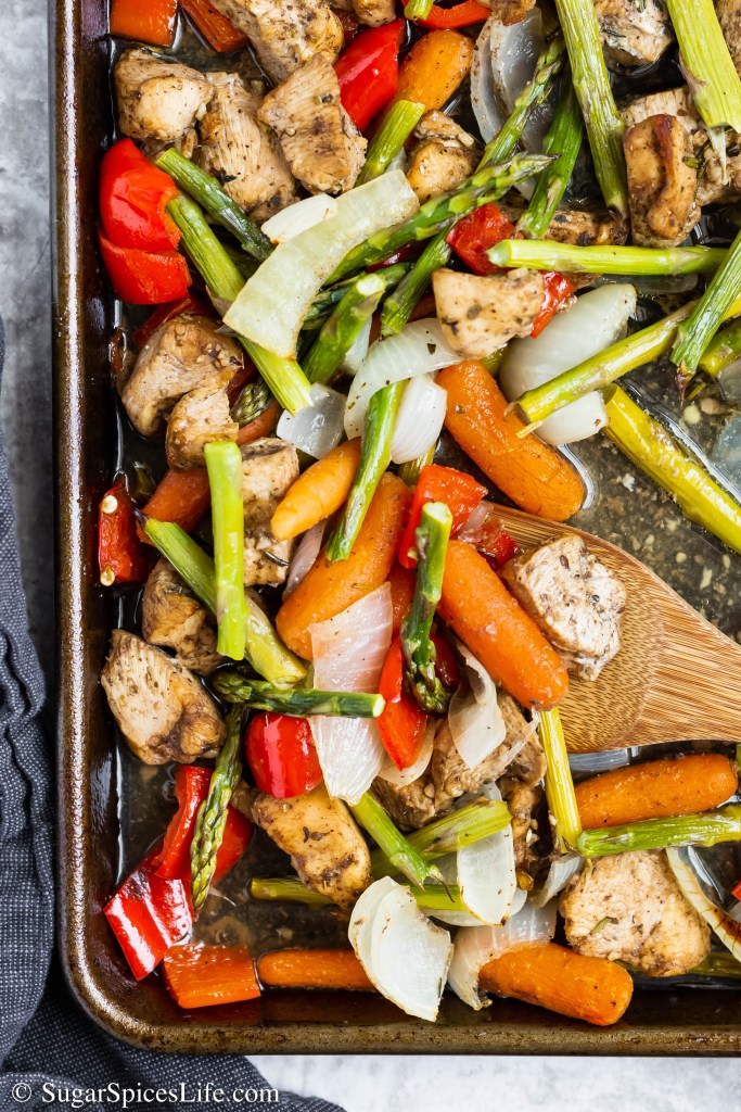 Sheet Pan Balsamic Honey Chicken. This low-maintenance recipe has tender chicken in a balsamic honey sauce and lots of perfectly seasoned roasted vegetables. A quick and easy weeknight dinner.