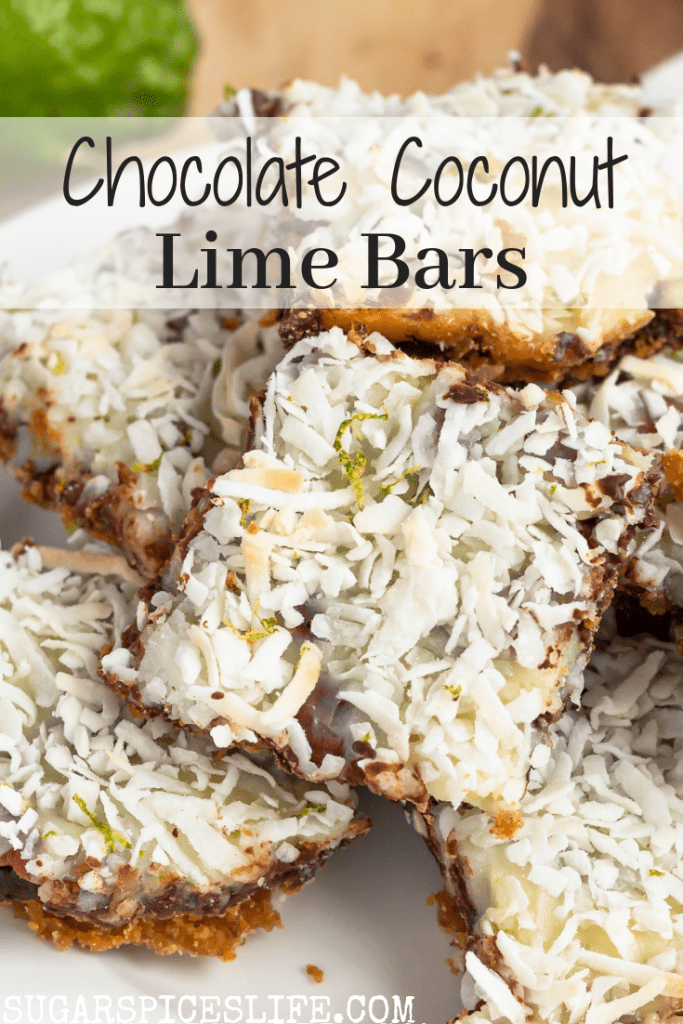 Graham cracker crust topped with toasted coconut, fresh lime zest, and chocolate chips. These Chocolate Coconut Lime Bars are a fun twist on seven layer bars.