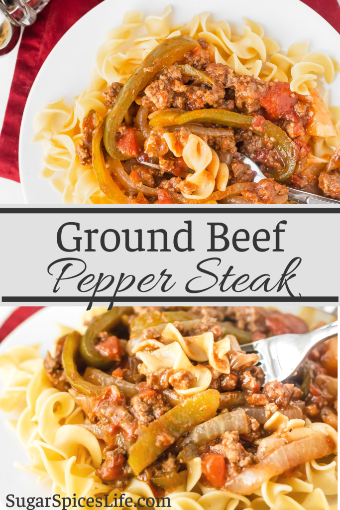 Tender, ground beef with sautéed peppers and onions in a flavorful tomato sauce. This Ground Beef Pepper Steak is served over egg noodles, making it a filling, easy weeknight dinner.