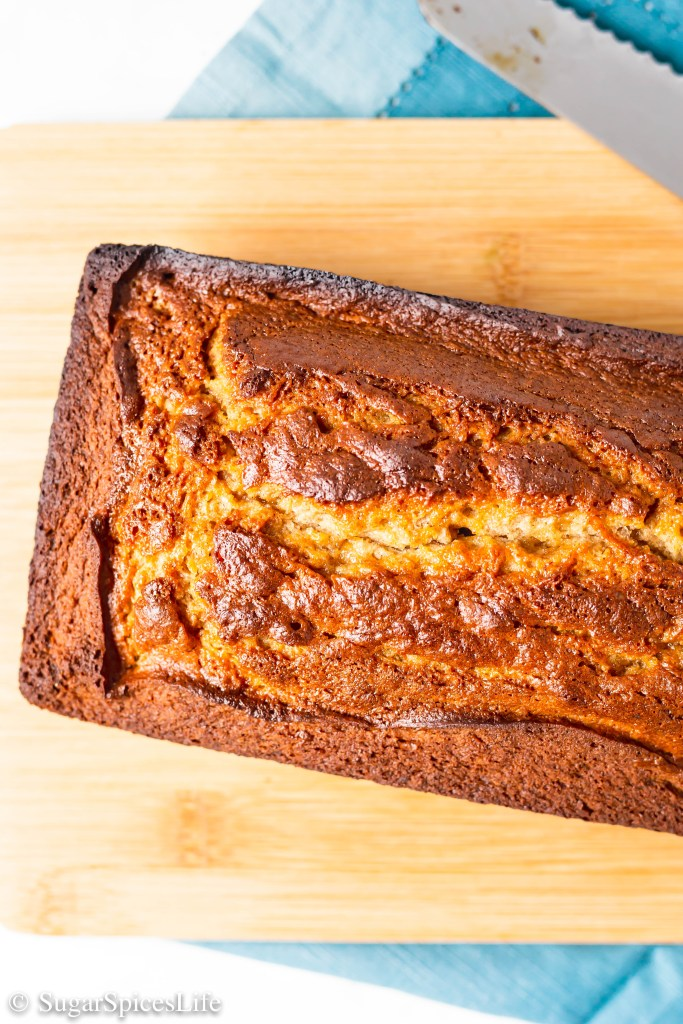 Soft, cinnamon banana bread with swirls of caramel throughout. This Caramel Banana Bread will be your new favorite sweet bread!