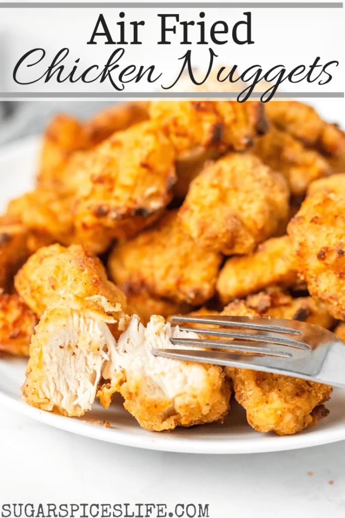 Deliciously flavored chicken nuggets that are crispy on the outside and tender on the inside. These Air Fried Chicken Nuggets are a healthier twist on a family favorite!