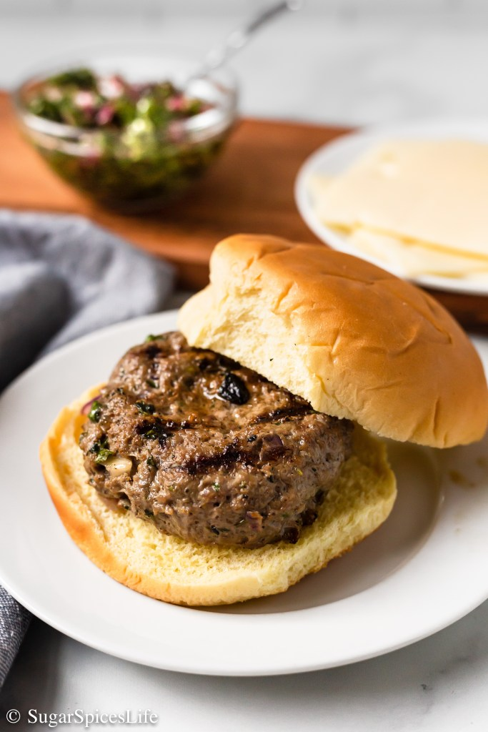 Ground beef mixed with fresh herbs and spices, grilled to perfection, then topped with a chimichurri sauce. These Chimichurri Burgers will take your burger game to the next level.
