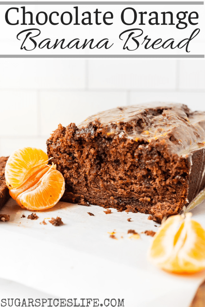 Chocolate banana bread with chocolate chips and hints of orange zest, then drizzles with an orange glaze. This Chocolate Orange Banana Bread is a unique, delicious sweet bread!
