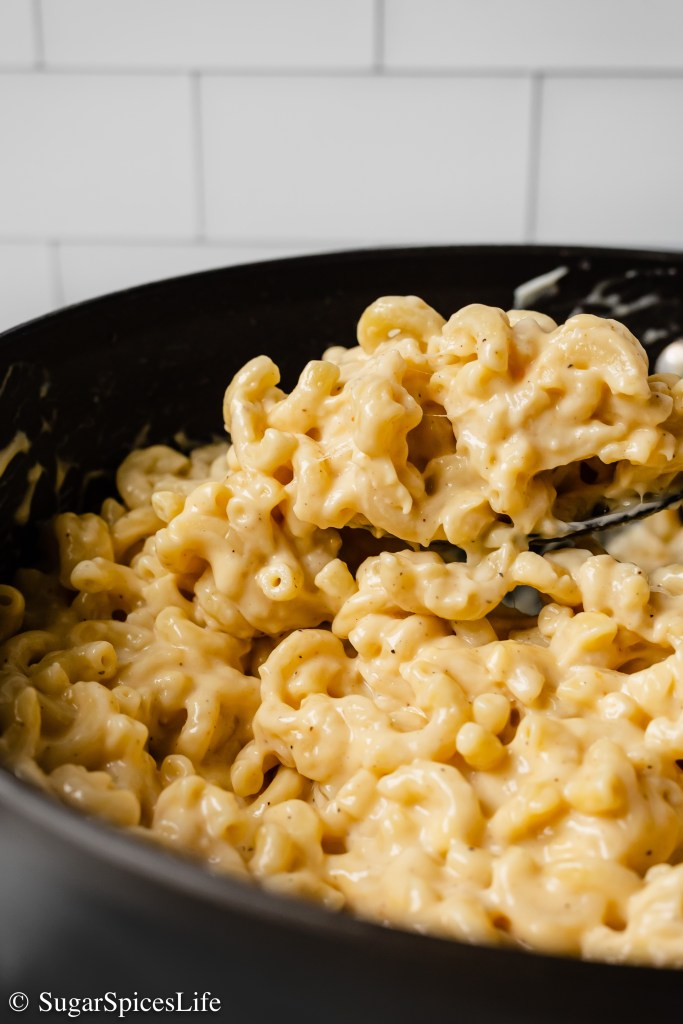 Sharp Cheddar, Smoked Gouda, and Gruyere cheeses melted together to make a perfectly Creamy Three Cheese Mac and Cheese! A side or main dish that will make your whole family happy!