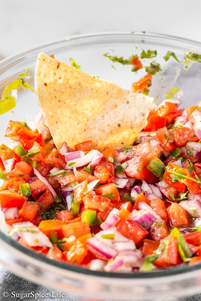 This Pico de Gallo is easy and quick to make, packed with the taste of lime, and full of fresh flavor!