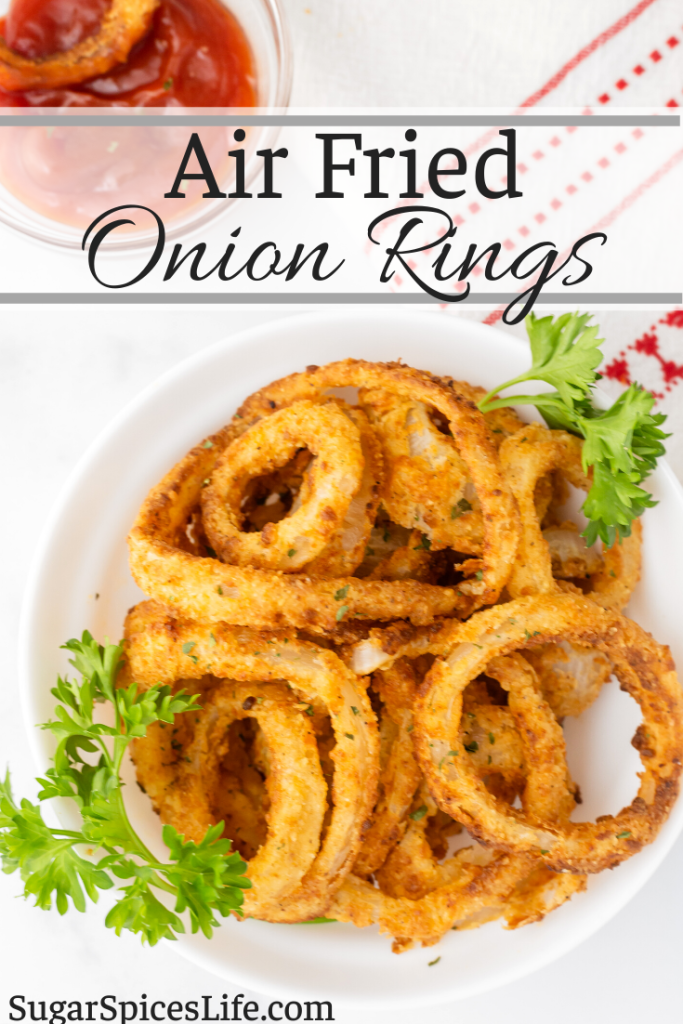 Onions dipped in buttermilk, coated in a flavorful breading, and air fried to a perfect crisp. These Air Fried Onion Rings are ideal for an appetizer, side dish or snack!