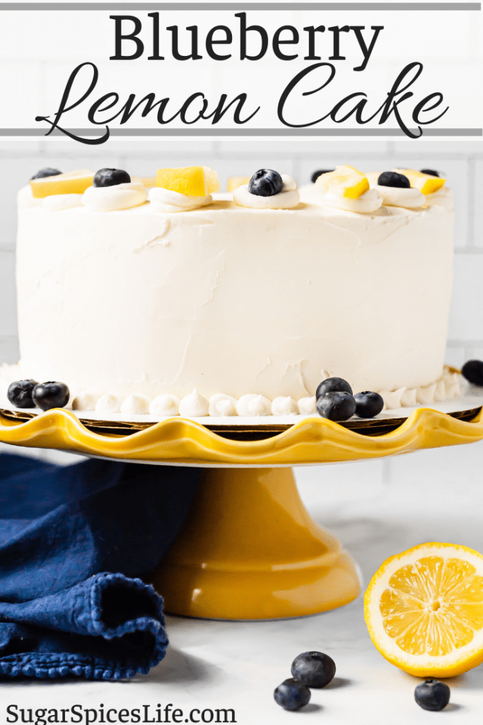 Soft, white cake layers with lemon curd and blueberry preserve fillings, finished with a lemon buttercream frosting. This Blueberry Lemon Cake is a moist, delicious cake with wonderful fruit flavors in every bite!