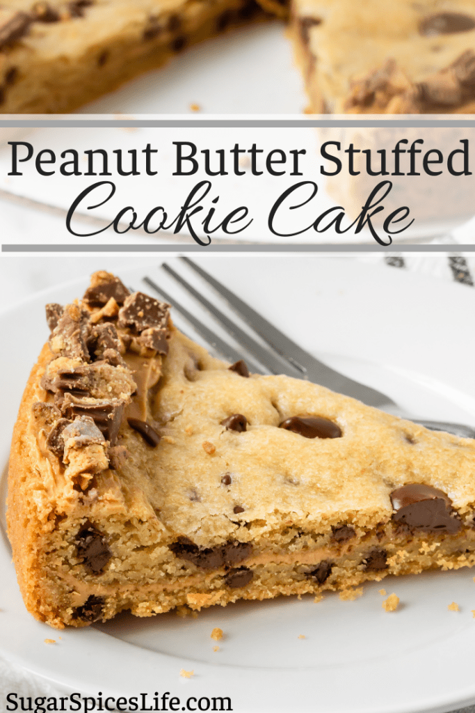 A giant, soft chocolate chip cookie stuffed with creamy peanut butter, then topped with chopped bits of candy. This Peanut Butter Stuffed Cookie Cake will be a hit for almost any celebration!