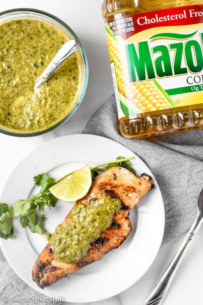 Chicken breasts marinated in a honey lime sauce, grilled to perfection, and then topped with a flavorful green sauce. The marinade and sauce for this Honey Lime Chicken with Green Sauce are made with Mazola® Corn Oil to be full of flavor while being better for you.