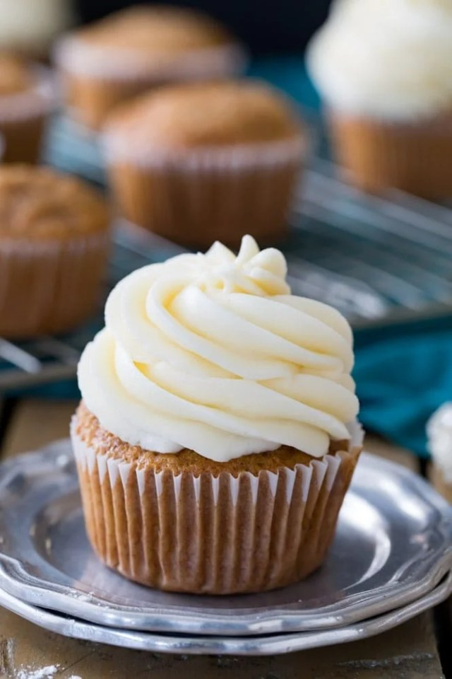Cream Cheese Frosting Piped On Top Of A Cupcake