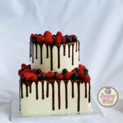 2 tier Chocolate drizzle and berries