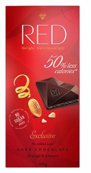 Red Delight Dark Chocolate With Orange And Almond by Chocolette