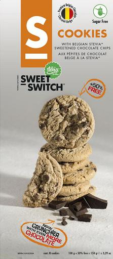 SWEET-SWITCH Cookies with Stevia Sweetened Belgian Chocolate Chips