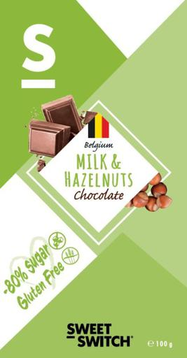 SWEET-SWITCH Milk Hazelnut Chocolate Tablet Stevia