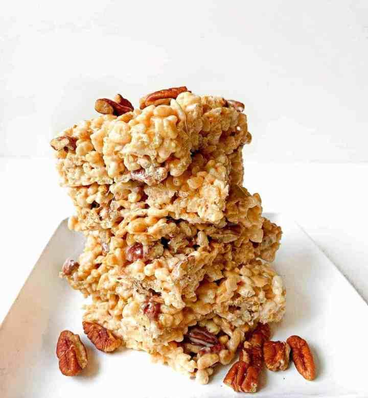 A stack of caramel apple Rice Krispie treats