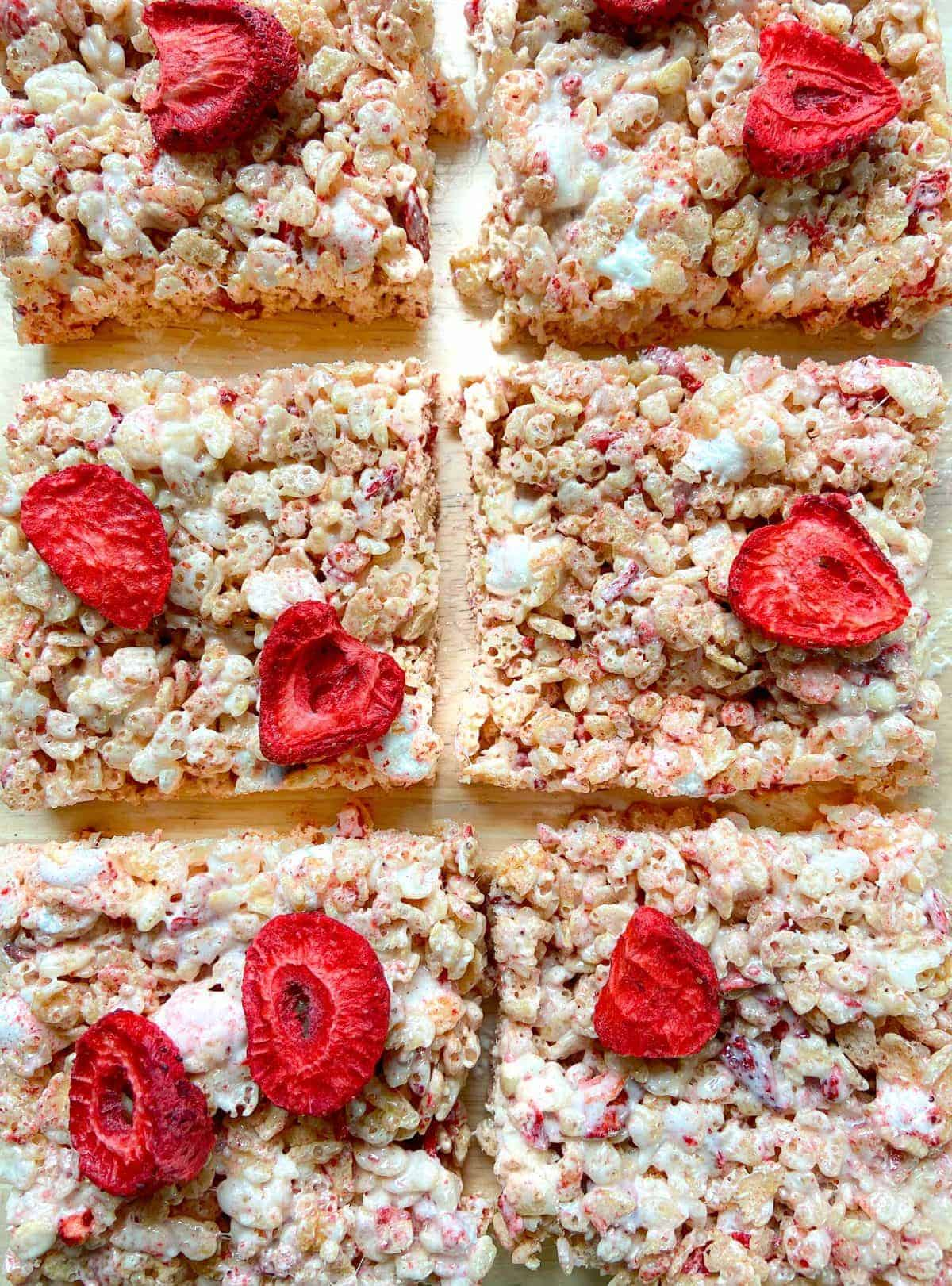 Strawberries and Cream Rice Krispie Treats