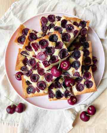 Cherry Almond Snack Cake cut into squares