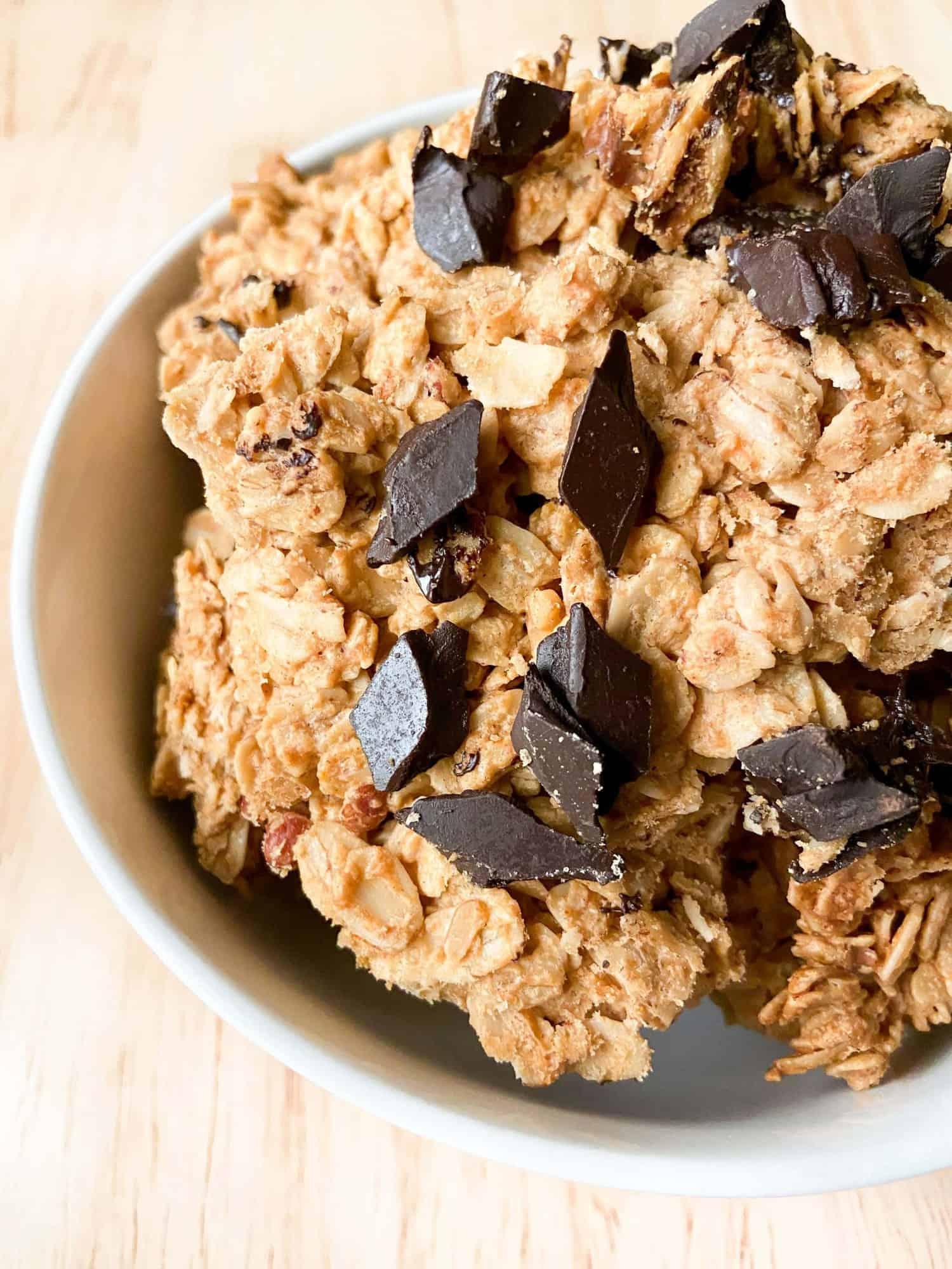 Peanut Butter Chocolate Chunk Granola Clusters