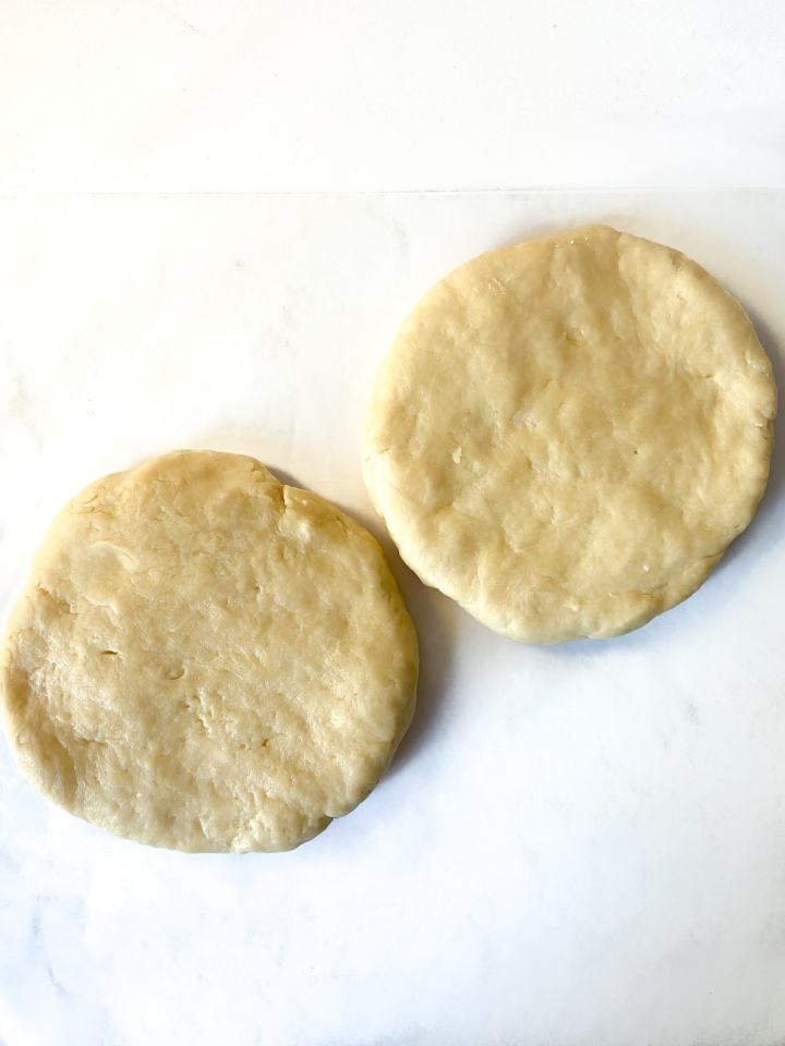 two disks of pie dough