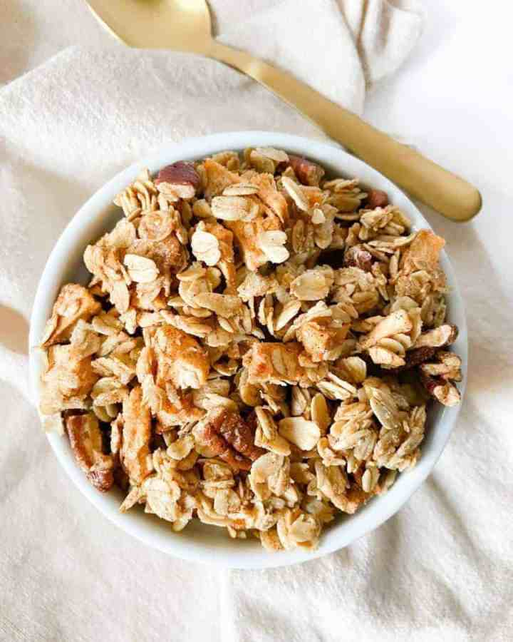 Spiced Apple Pecan Granola in a bowl
