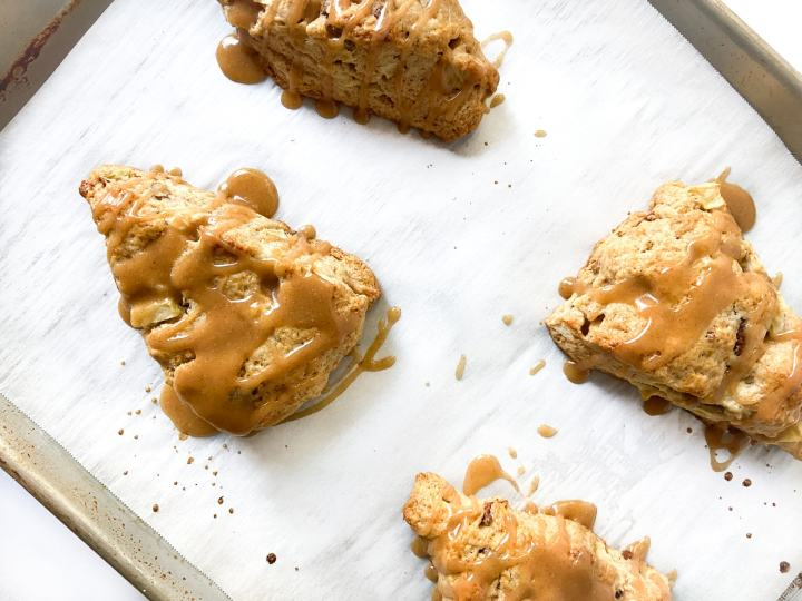tray of apple cinnamon scones