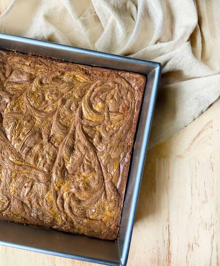 peanut butter swirl brownies in a pan