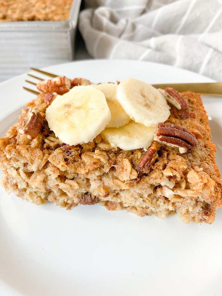 banana bread baked oatmeal slice