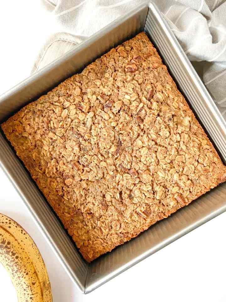 tray of banana bread baked oatmeal, unsliced