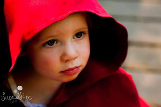 SugaShoc_Photography_Children_Photographer_Bucks County_Doylestown_PA_child_closeup_red_riding_hood_theme_portrait