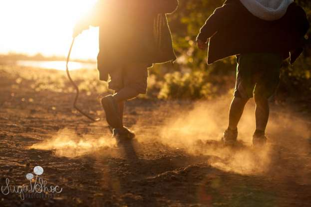 SugaShoc_Photography_Family_Photographer_Bucks County_Doylestown_PA_shoreline_park_boys_playing_in_dirt_sunset
