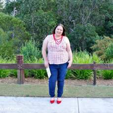 plus size jeans and red outfit 003, aussie curves, plus size fashion, plus size, plus-size, outfit of the day, ootd, curvy, curvette, Melissa Walker Horn, Suger Coat It, Queensland, Australia