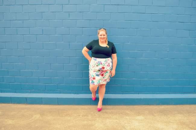 plus size eShakti peplum skirt outfit 001
