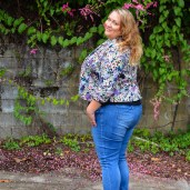 plus size floral jacket with jeans-2