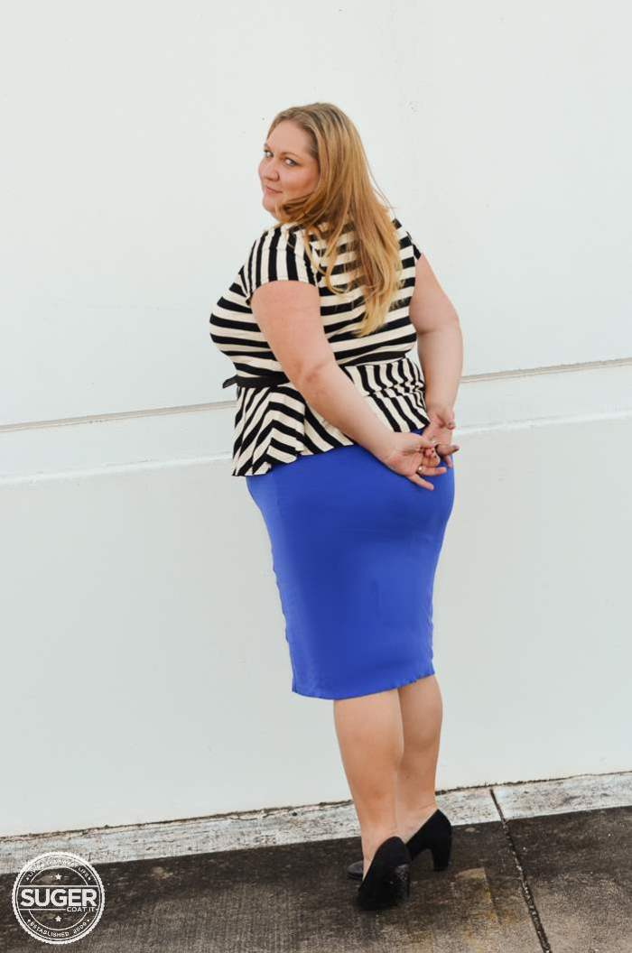 ASOS stripe peplum virtu pencil skirt plus size-5