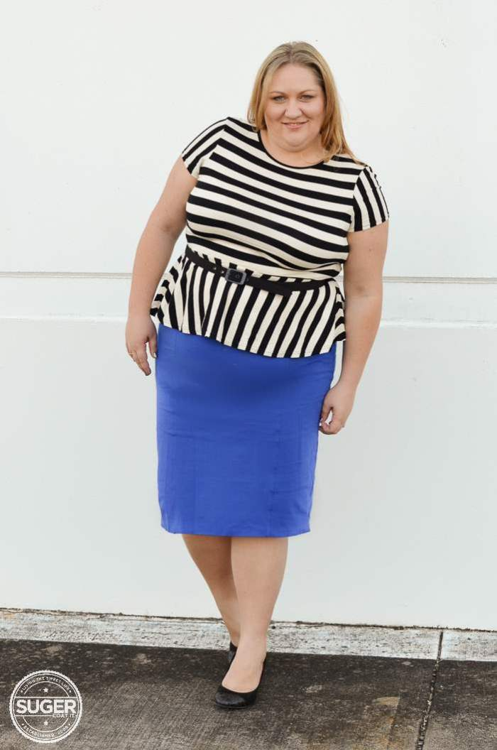 ASOS stripe peplum virtu pencil skirt plus size-6