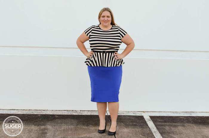 ASOS stripe peplum virtu pencil skirt plus size