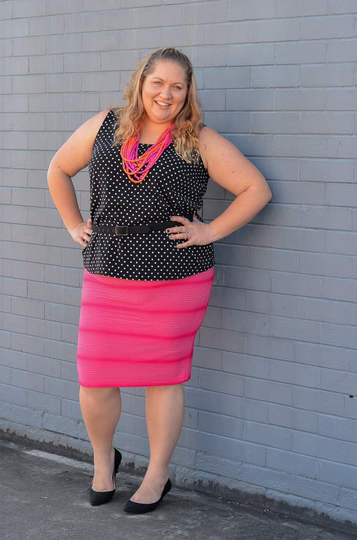 plus size spots and stripes colourful outfit-3